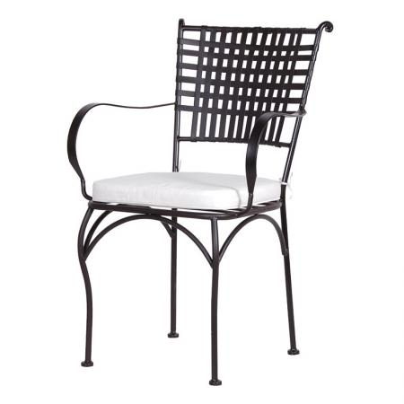 Black Metal Lattice Back Chair & Cream Cushion