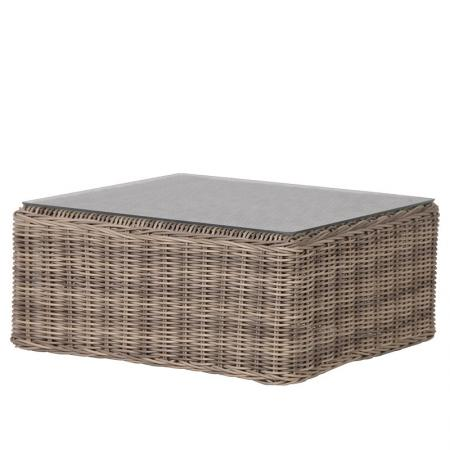 Rattan Square Coffee Table With Glass / Garden Furniture