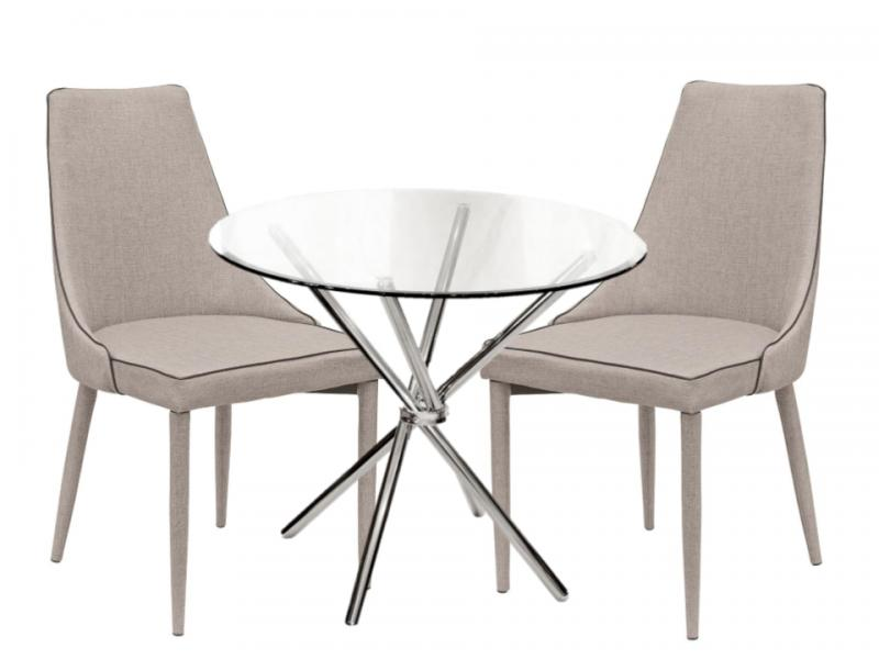 crossed glass dining table set 4 light grey fabric chairs - Dining Table With Grey Chairs