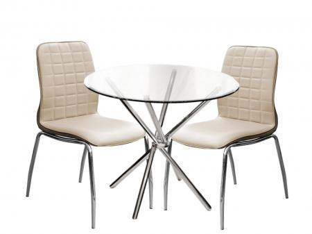 round glass dining table set 4 beige pu chairs