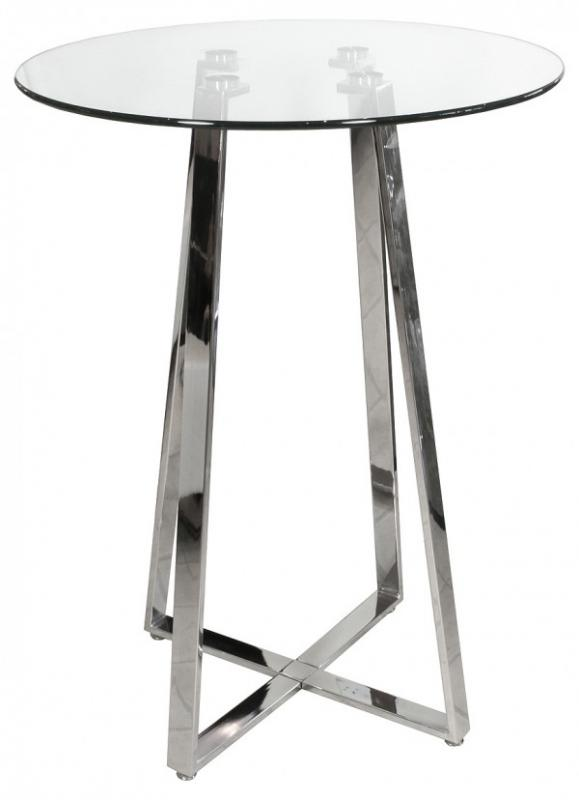 Delightful Glass Top Round Chrome Bar Table