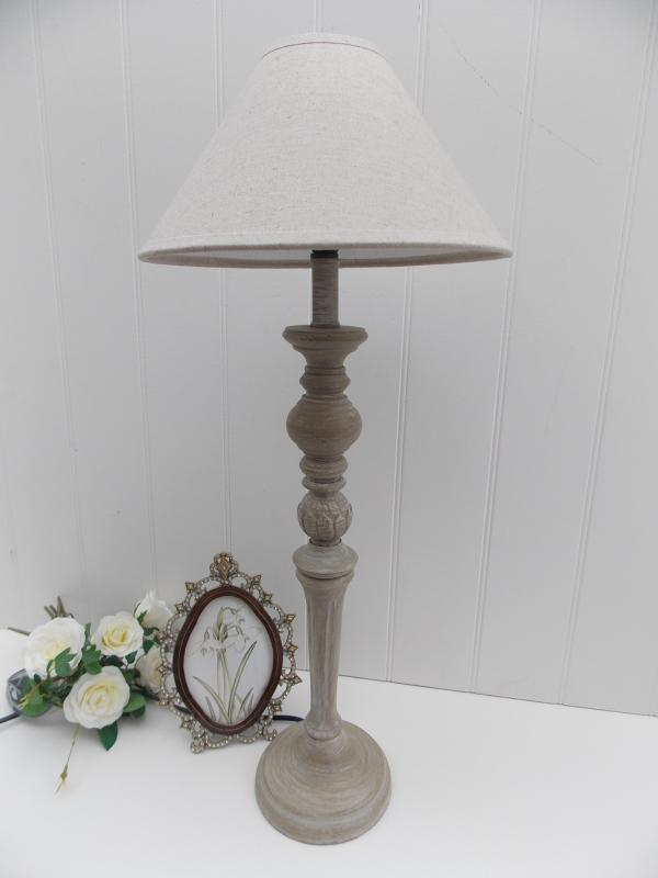 Tall Limed Wood Table Lamp & Cream Linen Shade | Mulberry Moon