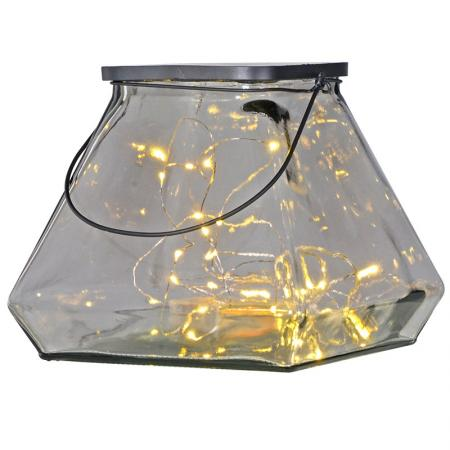 Chunky Glass Pyramid Shaped 30 Led Lantern