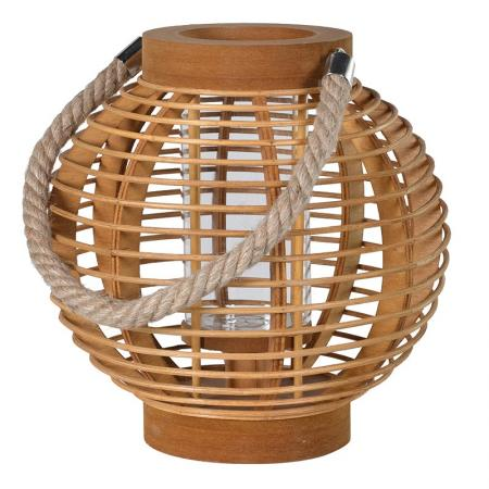 Small Round Wooden Lantern With Rope Handle