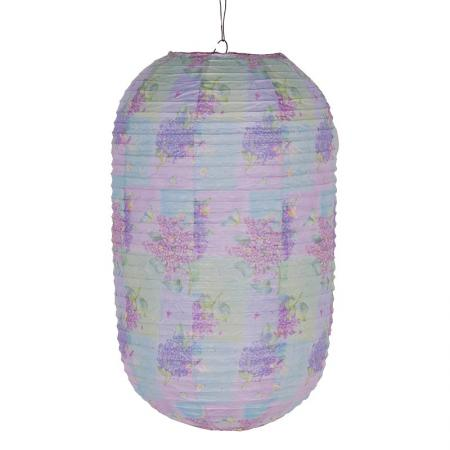 Set of 6 Lilac Flower Pattern Paper Garden Lanterns