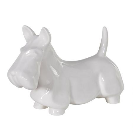 White Ceramic Scottie Dog Sculpture
