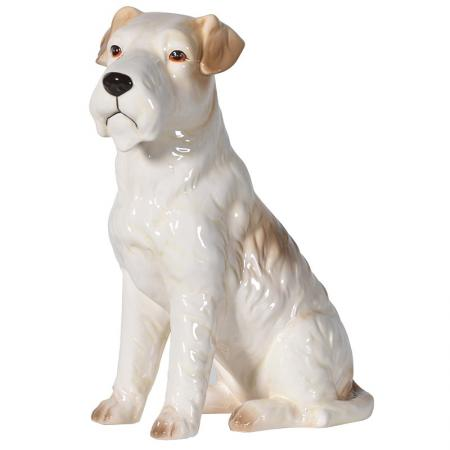 Retro Sitting Terrier Dog Sculpture