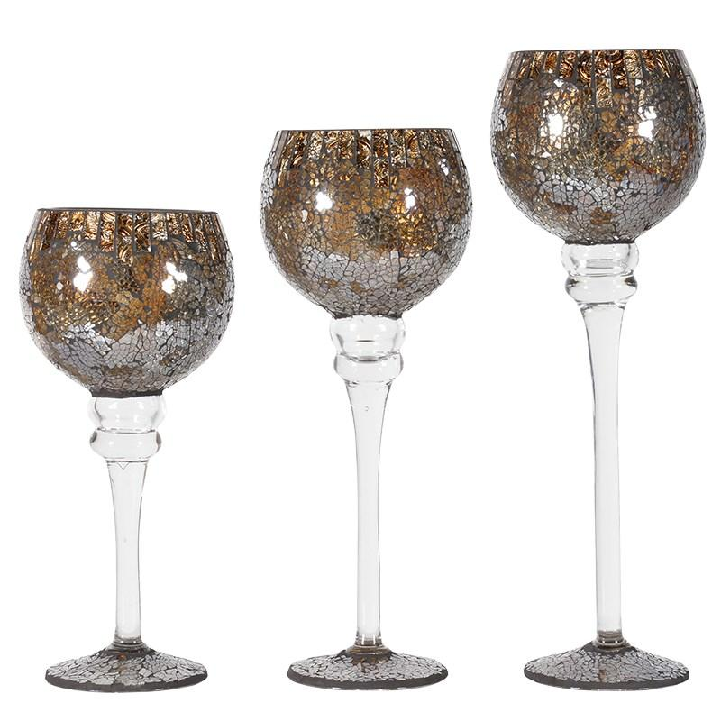 Contemporary set of 3 mosaic crackle candle holders mulberry moon