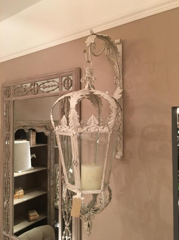 Huge Cream Metal Hanging Lantern With Wall Bracket
