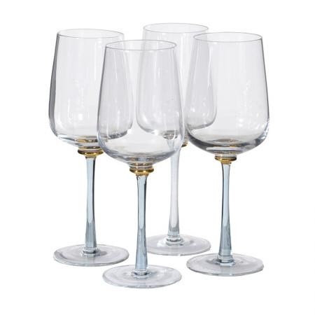 Set of 4 Smoked & Gold Stem White Wine Glasses