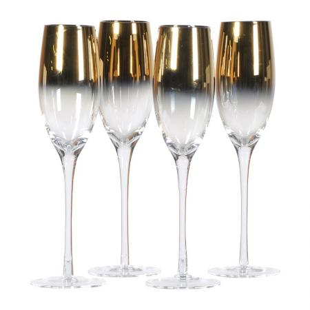 Set of 4 Gold Plated Flute Glasses