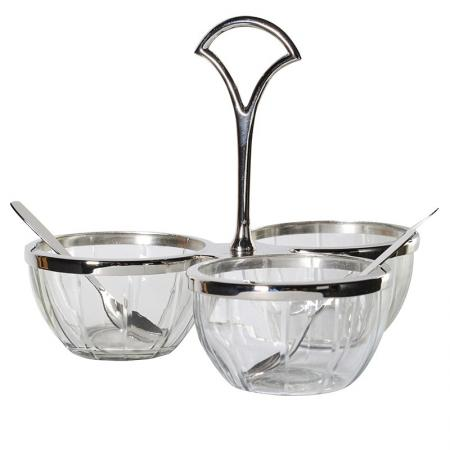 3 Steel & Glass & Condiment Dish & Spoons