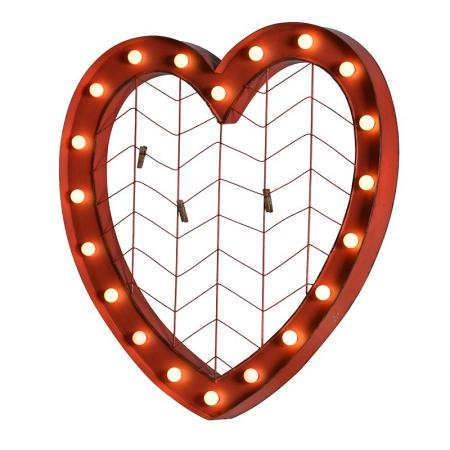 Metal Hanging Red Heart Led Lamp