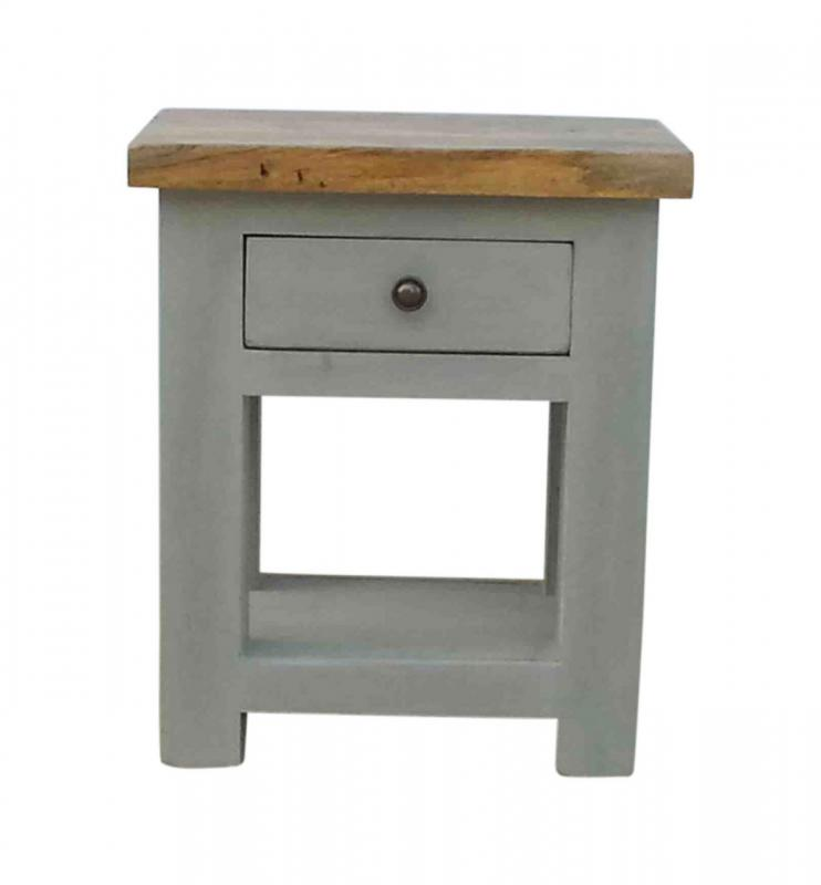 York solid oak grey painted side table lamp table mulberry moon york solid oak grey painted side table lamp table aloadofball Choice Image