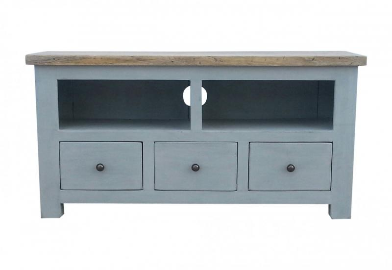 York Solid Oak & Grey Painted TV Cabinet | Mulberry Moon