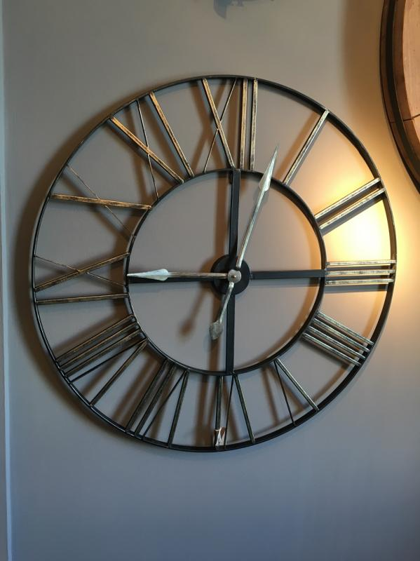 Large Distressed Metal Round Skeleton Wall Clock