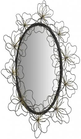 Twisted Metal Floral Oval Wall Mirror