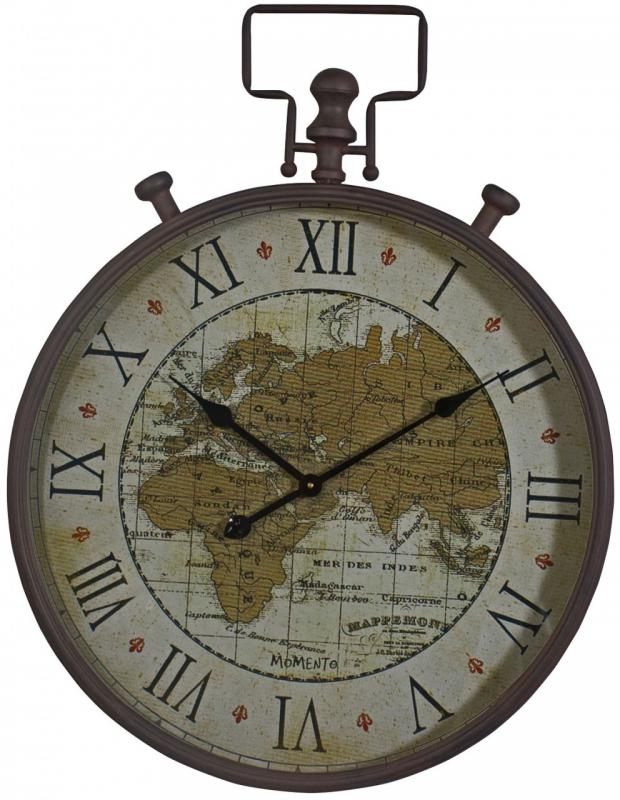 Buy World Map Clock. Large World Map Metal Fob Watch Wall Clock  Mulberry Moon