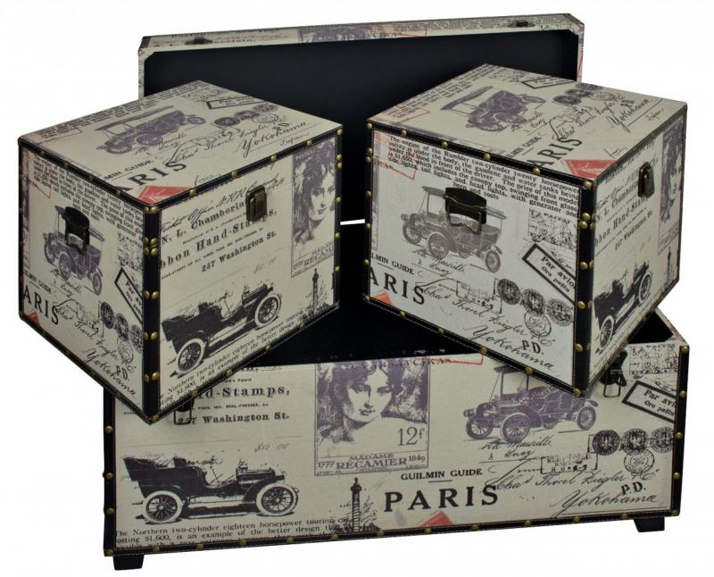 Large Set Of Paris Fabric Storage Trunks