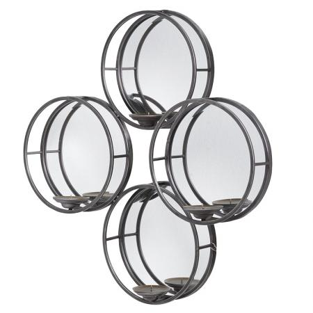 Contemporary Metal Circles Mirror Candle Holder