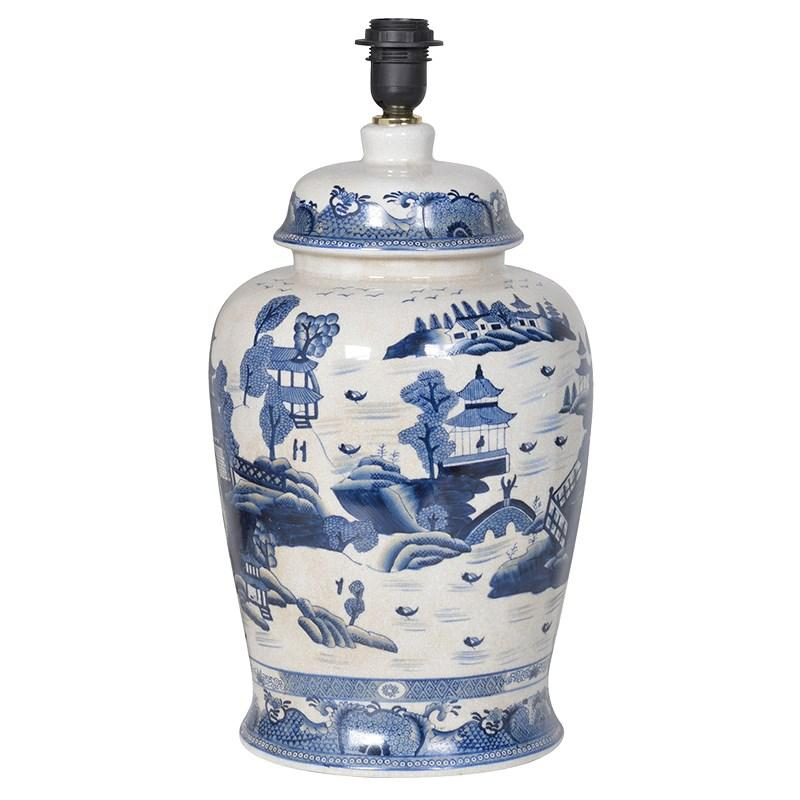blue u0026 white ceramic scene table lamp base in stock