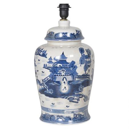 Blue & White Ceramic Scene Table Lamp Base