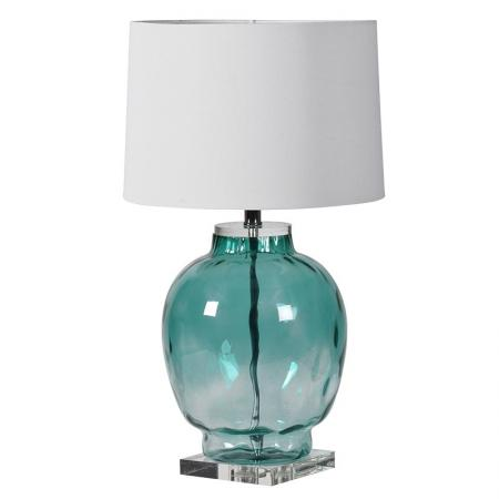 Blue / Green Glass Bubble Table Lamp & Shade