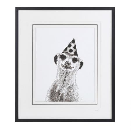 Lg Framed Meerkat With Hat Picture / Wall Art
