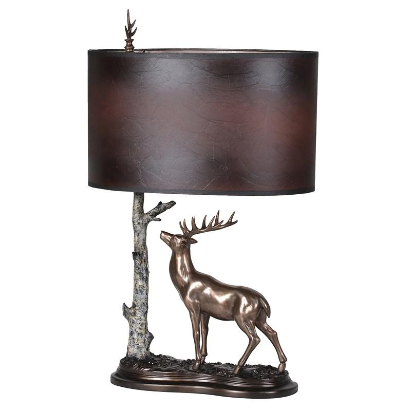 Stag with tree table lamp amp brown shade mulberry moon