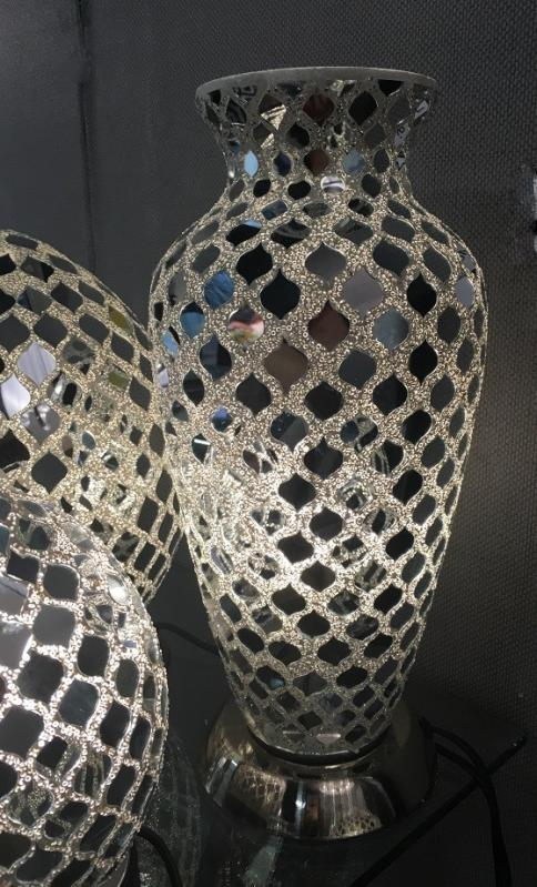 Mirrored Silver Mosaic Crackle Vase Lamp Table Lamp
