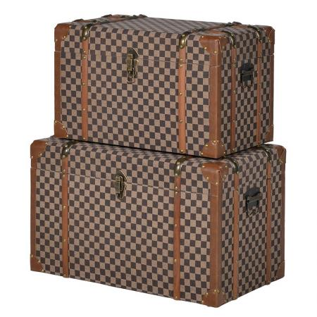 2 Large Brown Check Fabric Storage Trunks