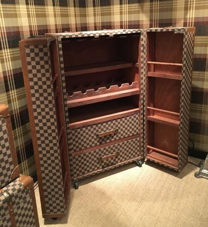 Large Brown Check Fabric Drinks Cabinet