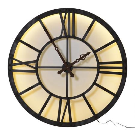 Huge Chunky Metal Lit Skeleton Wall Clock