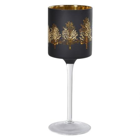2 x Black / Gold Glass Tree Goblet Candle Holders