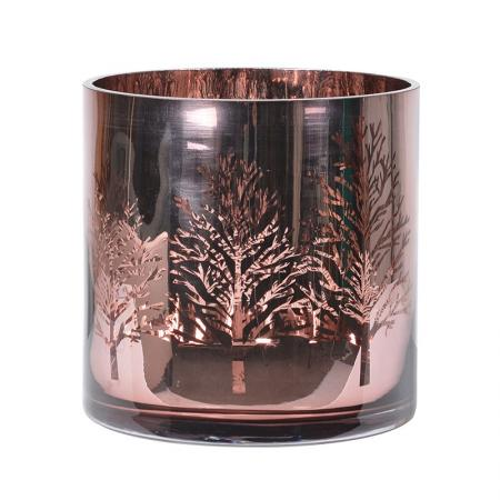 Large Glass Rose Gold Tree Candle Holder