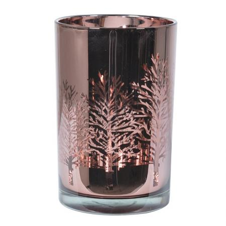 2 x Medium Glass Rose Gold Tree Candle Holders