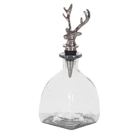 Nickel Stag's Head Glass Wine Decanter