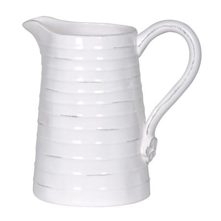 Ceramic White Rustic Ribbed Pitcher