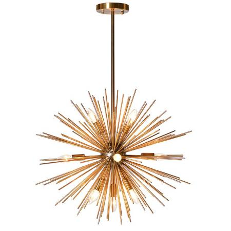 Gold Metal Starburst Ceiling Light / Chandelier