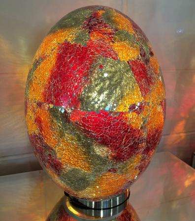Lg Red Mosaic Egg Lamp / Glass Light