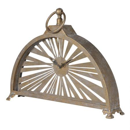 Antiqued Gold Metal Arch Mantel Clock