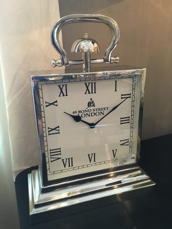 Large Chrome Square Steel Mantel Clock