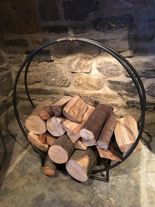 Large Black Metal Circle Log Holder Mulberry Moon