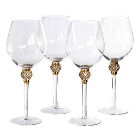 Set of 4 Red Wine Glass Gold Crystal Ball Style