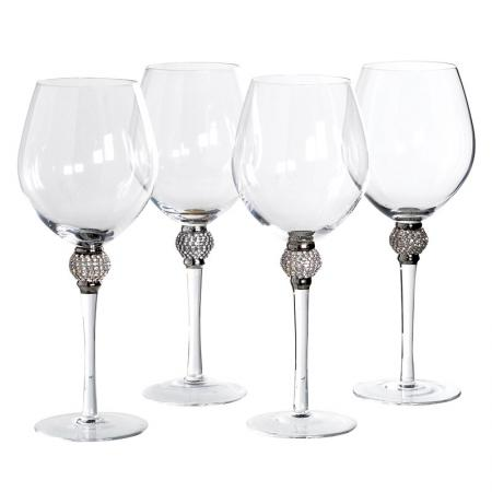 Set of 4 Red Wine Silver Diamante Ball Glasses