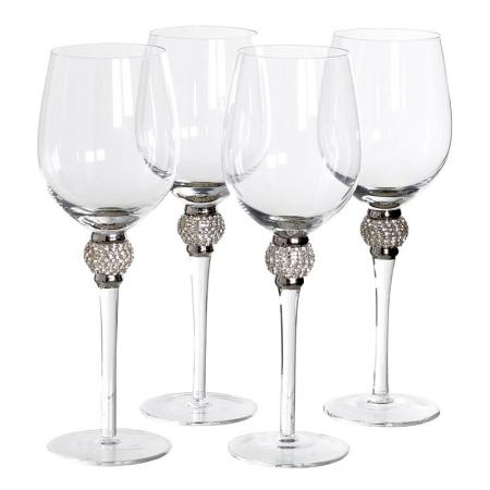 Set of 4 White Wine Glass Silver Crystal Ball Style