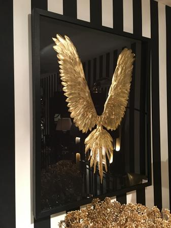 Framed Gold Feather Wing Sculpture