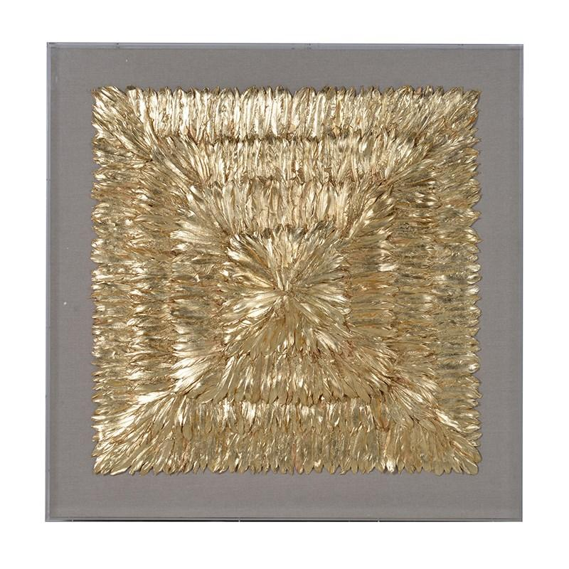 Huge framed gold 3d feather wall art mulberry moon for Gold wall art