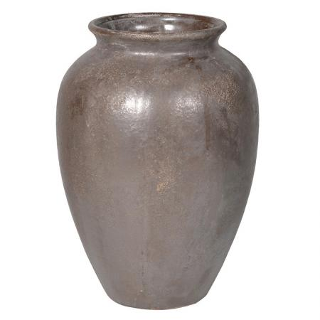 Lg Antiqued Brown Chunky Urn / Vase