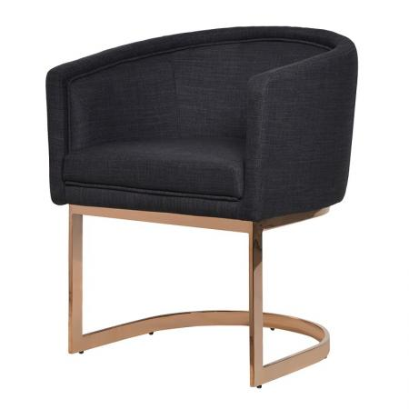 Black Dining Chair / Rose Gold Metal Frame